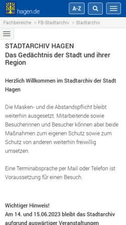 Vorschau der mobilen Webseite www.historisches-centrum.de, Historisches Centrum Hagen