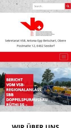 Vorschau der mobilen Webseite www.vsb-astb.ch, Verband Schweizerischer Betontechnologen