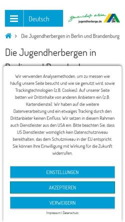 Vorschau der mobilen Webseite www.jugendherbergen-berlin-brandenburg.de, Deutsches Jugendherbergswerk - Landesverband Berlin Brandenburg