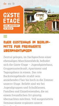 Vorschau der mobilen Webseite www.gaeste-etage.de, Gäste-Etage Berlin