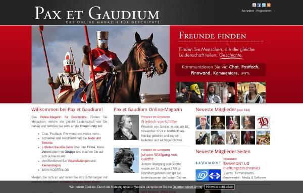Vorschau von www.paxetgaudium.com, pax et gaudium - Spaß an Geschichte