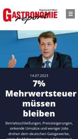 Vorschau der mobilen Webseite gastronomie-report.de, Gastronomie Report - Gastronomie Report Verlags GmbH