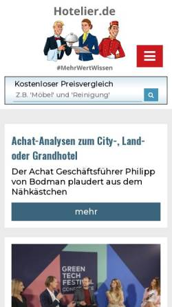 Vorschau der mobilen Webseite www.hotelier.de, Hotelier.de - HSI Hotel Suppliers Index Ltd.