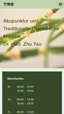 Vorschau der mobilen Webseite www.tcmpraxis-yao.de, Dr. med. Zhu Yao