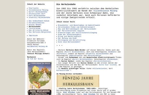 Vorschau von www.kassel-wilhelmshoehe.de, Die Herkulesbahn in Kassel