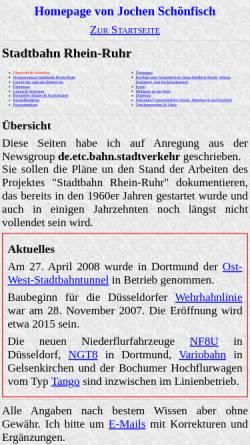 Vorschau der mobilen Webseite www.jochen-schoenfisch.de, Jochen Schönfisch: Stadtbahn Rhein-Ruhr