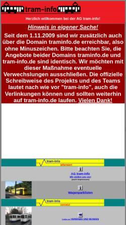 Vorschau der mobilen Webseite www.tram-info.de, Tram-Info