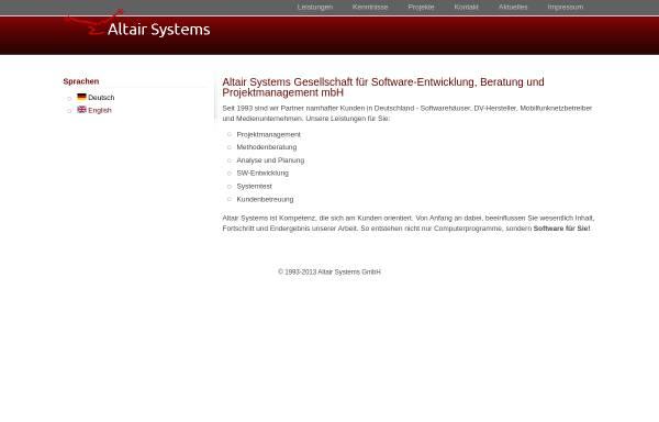 Vorschau von www.altairsystems.de, Altair Systems GmbH