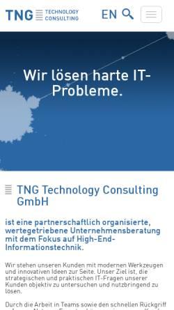 Vorschau der mobilen Webseite www.tngtech.com, TNG Technology Consulting GmbH