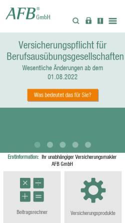 Vorschau der mobilen Webseite www.afb24.de, AFB Assekuranz Freier Berufe GmbH
