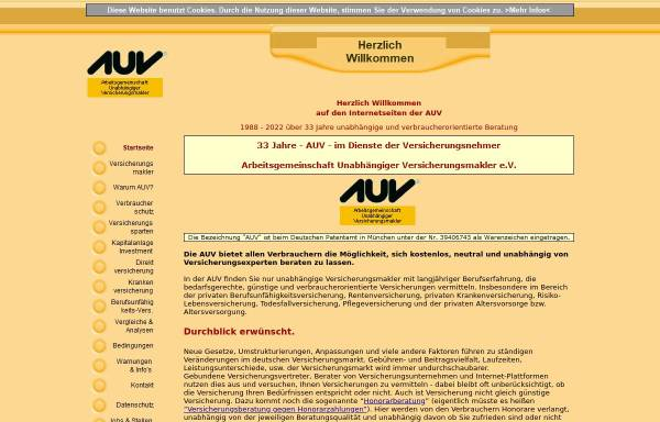 Vorschau von www.auv.de, AUV Arbeitsgemeinschaft Unabhängiger Versicherungsmakler e.V.