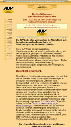 Vorschau der mobilen Webseite www.auv.de, AUV Arbeitsgemeinschaft Unabhängiger Versicherungsmakler e.V.