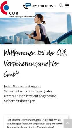 Vorschau der mobilen Webseite www.cur-vm.de, Cur Versicherungsmakler GmbH
