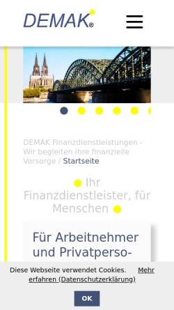 Vorschau der mobilen Webseite www.demak.de, DEMAK Assekuranzmakler, Inh. Vers.-Betriebswirt Detlef M. Klotz