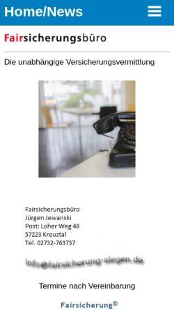 Vorschau der mobilen Webseite www.fairsicherung-siegen.de, Jürgen Jewanski
