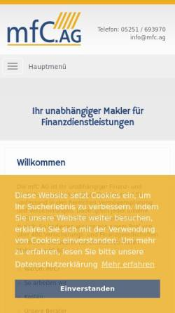 Vorschau der mobilen Webseite www.myfinancec.de, MyfinanceC AG