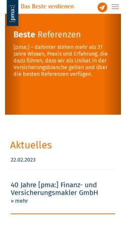 Vorschau der mobilen Webseite www.pma.de, PMA: Finanz- und Versicherungsmakler GmbH