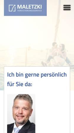 Vorschau der mobilen Webseite www.maletzki.de, Versicherungsservice Maletzki, Inh. Dirk Maletzki