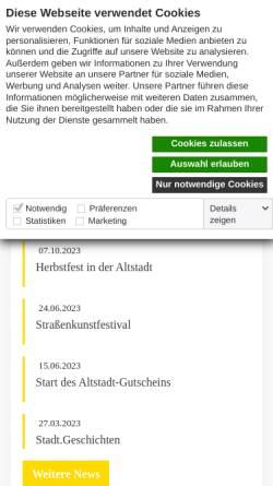 Vorschau der mobilen Webseite www.faszination-altstadt.de, Aktionsgemeinschaft Altstadt e.V.