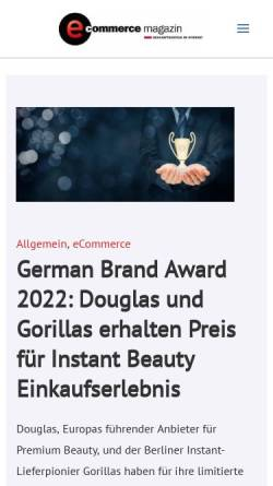 Vorschau der mobilen Webseite www.e-commerce-magazin.de, E-Commerce Magazin