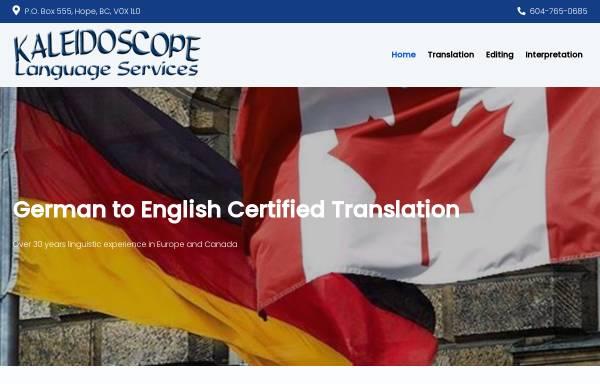 Vorschau von www.languageservice.ca, Kaleidoscope Language Services, Inh. Ulrike Spitzer