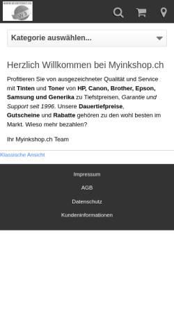 Vorschau der mobilen Webseite www.myinkshop.ch, Swiss Printtec GmbH