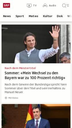 Vorschau der mobilen Webseite www.sf.tv, Schweizer Fernsehen