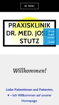 Vorschau der mobilen Webseite www.stutz-dr.com, Praxisklinik Praxisklinik Praxisklinik und Privatpraxis Dr. med. Josef J. Stutz