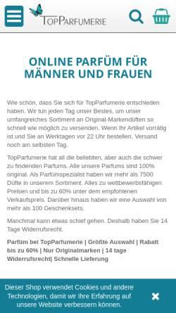 Vorschau der mobilen Webseite www.topparfumerie.de, Topparfumerie Eenmanszaak, Marianne Havenstein