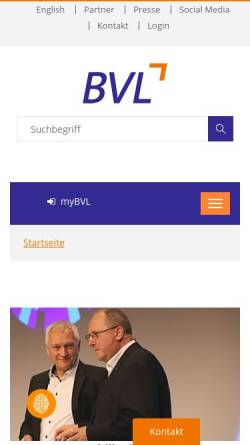 Vorschau der mobilen Webseite www.bvl.de, BVL Bundesvereinigung Logistik e. V.