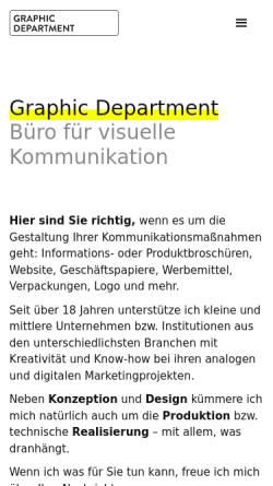 Vorschau der mobilen Webseite graphic-dept.de, Graphic Department