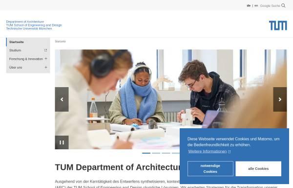 Vorschau von www.ar.tum.de, Fakultät für Architektur an der TU München