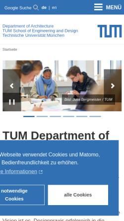 Vorschau der mobilen Webseite www.ar.tum.de, Fakultät für Architektur an der TU München