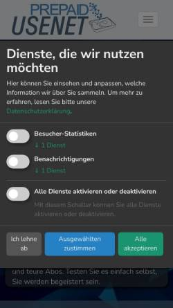 Vorschau der mobilen Webseite www.prepaid-usenet.de, PrePaid-Usenet