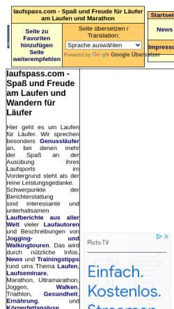 Vorschau der mobilen Webseite laufspass.com, Laufspaß
