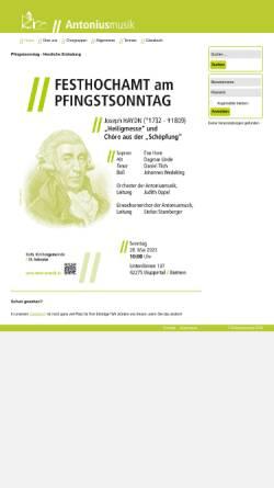 Vorschau der mobilen Webseite www.antoniusmusik.de, Kirchenmusik St. Antonius Wuppertal Barmen