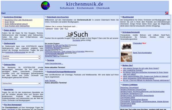 Vorschau von www.kirchenmusik.de, kirchenmusik.de - die Chordatenbank für Kirchenchöre