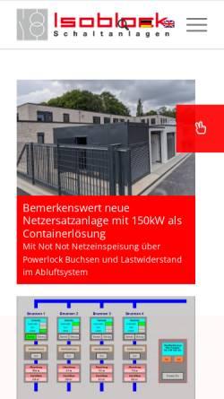 Vorschau der mobilen Webseite www.isoblock.de, Isoblock Schaltanlagen GmbH & Co. KG