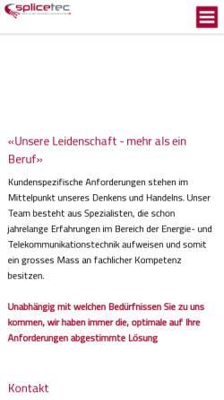 Vorschau der mobilen Webseite www.splicetec.ch, Splicetec AG