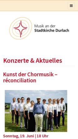 Vorschau der mobilen Webseite www.durlacher-kantorei.de, Musik an der ev. Stadtkirche Karlsruhe-Durlach