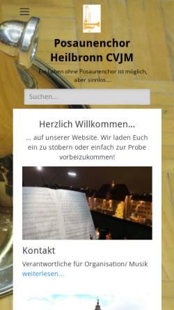 Vorschau der mobilen Webseite www.posaunenchor-heilbronn.de, Posaunenchor Heilbronn CVJM