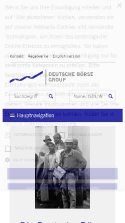 Vorschau der mobilen Webseite deutsche-boerse.com, Deutsche Börse AG