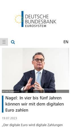 Vorschau der mobilen Webseite www.bundesbank.de, Deutsche Bundesbank