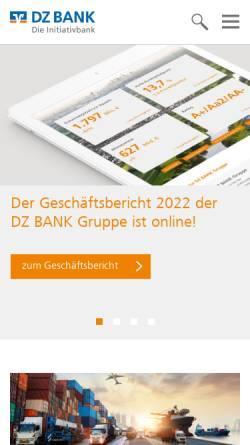 Vorschau der mobilen Webseite www.dzbank.de, DZ Bank AG - Deutsche Zentral-Genossenschaftsbank