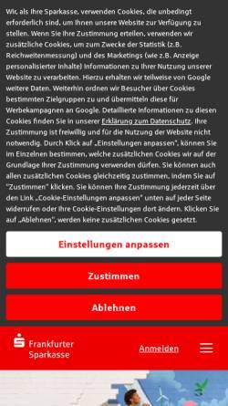 Vorschau der mobilen Webseite www.frankfurter-sparkasse.de, Frankfurter Sparkasse
