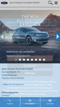 Vorschau der mobilen Webseite www.autohaus-geissel.de, Auto Geissel Vertriebs GmbH