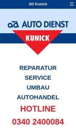 Vorschau der mobilen Webseite www.ad-kunick.de, Auto-Dienst Kunick