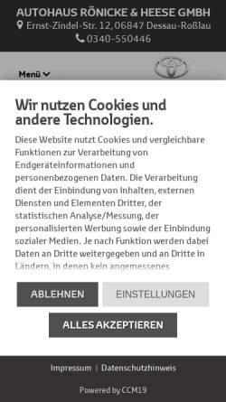 Vorschau der mobilen Webseite www.toyota-dessau.de, Autohaus Rönicke & Heese GmbH