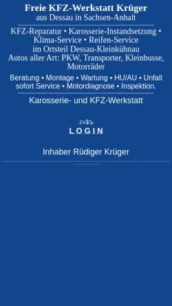 Vorschau der mobilen Webseite www.krueger-kfz.de, Fa. Krüger