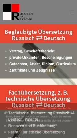 Vorschau der mobilen Webseite www.russisch-in-bremen.de, Elena Depken